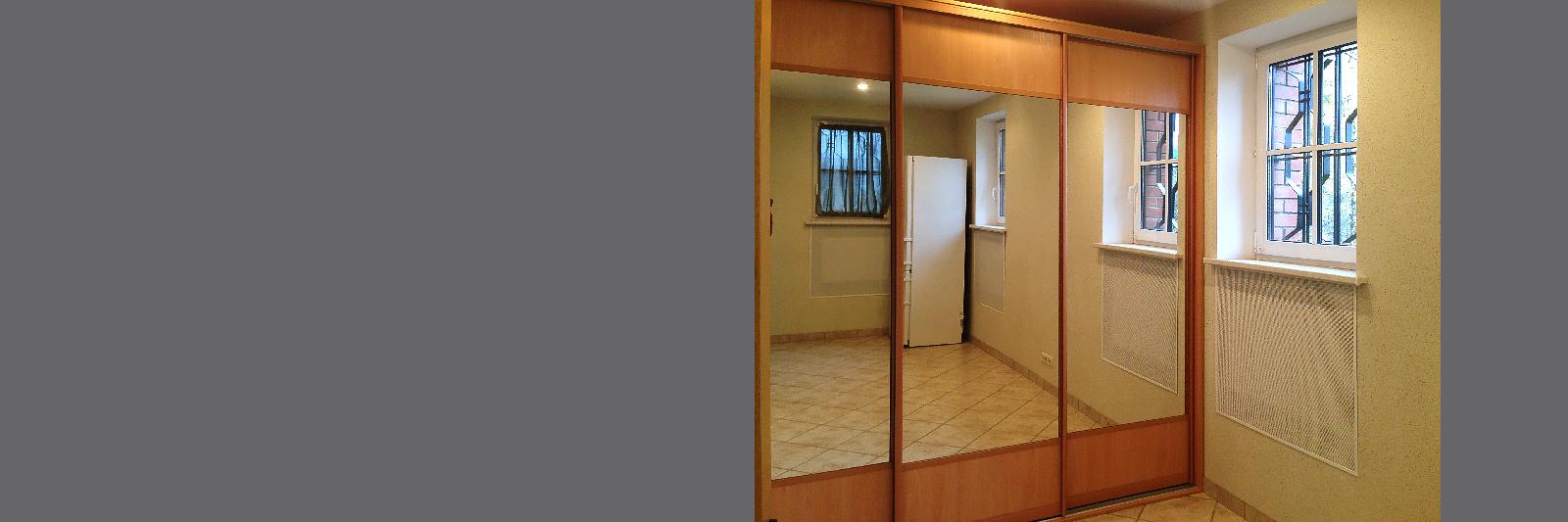 Шкаф-купе для одежды с зеркальными дверями